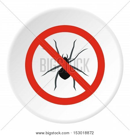 Prohibition sign spiders icon. Flat illustration of prohibition sign spiders vector icon for web