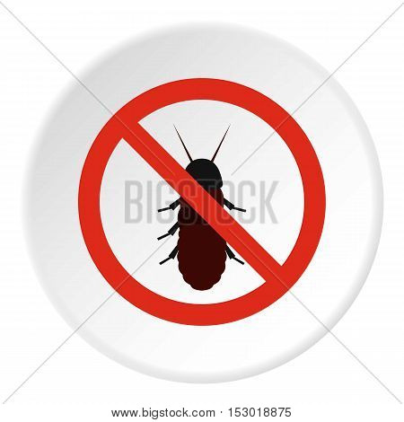 Prohibition sign coleoptera icon. Flat illustration of prohibition sign coleoptera vector icon for web