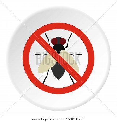 Prohibition sign flies icon. Flat illustration of prohibition sign flies vector icon for web