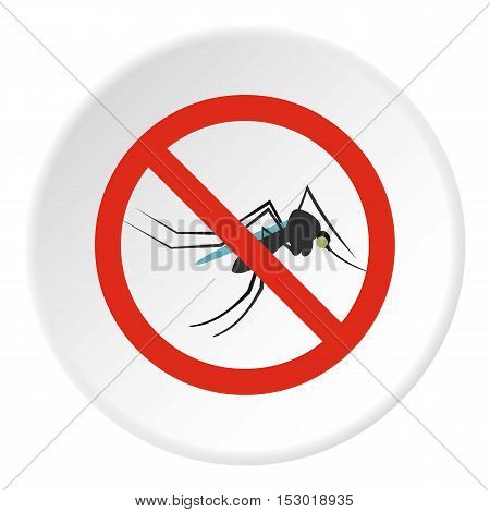 Prohibition sign mosquitoes icon. Flat illustration of prohibition sign mosquitoes vector icon for web