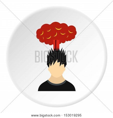 Male avatar and explosion brain icon. Flat illustration of male avatar and explosion brain vector icon for web