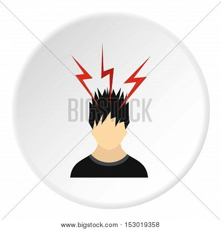 Male avatar and lightning icon. Flat illustration of male avatar and lightning vector icon for web