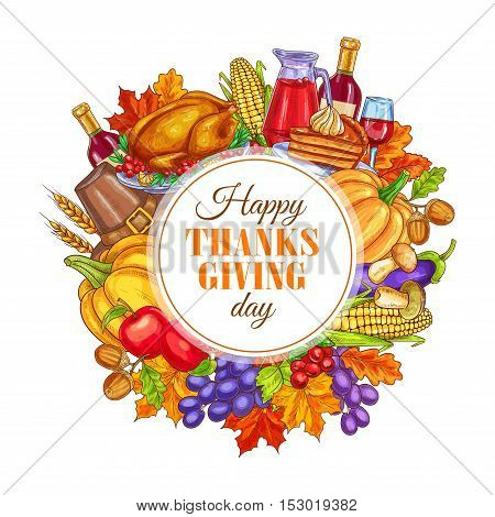 Thanksgiving Day decoration design. Vector round sticker for thanksgiving greeting card. Circle framed with decoration of traditional thanksgiving celebration turkey, harvest vegetables on white background