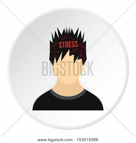 Male avatar and stress icon. Flat illustration of male avatar and stress vector icon for web