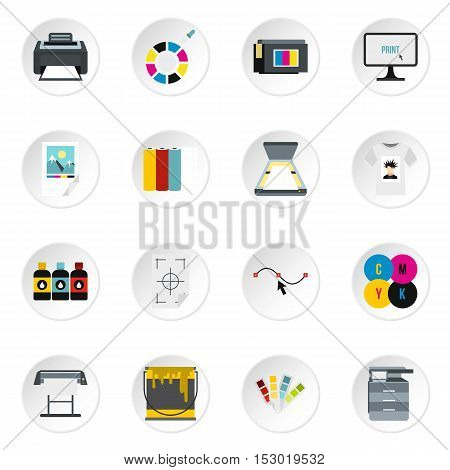 Printing icons set. Flat illustration of 16 printing vector icons for web