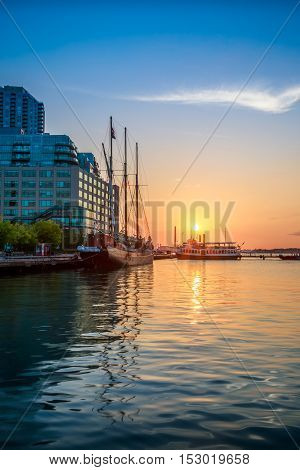 View of sunrise at downtown Toronto, Canada