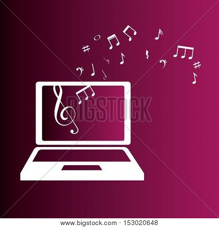 laptop with music notes color background vector illustration eps 10