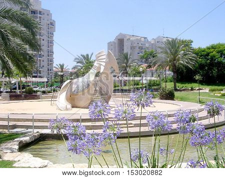Or Yehuda Israel - June 25 2005: Whale sculpture on a playground in quarter Neve Savyon.
