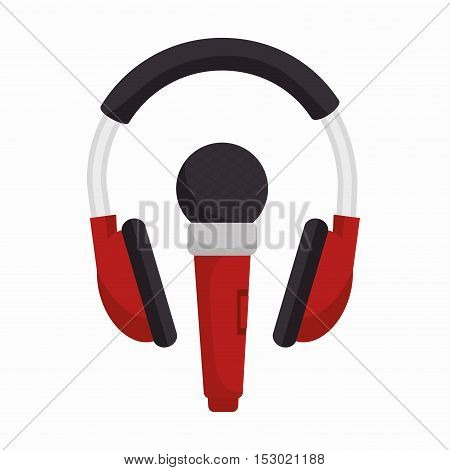 headphone with microphone sound design vector illustration