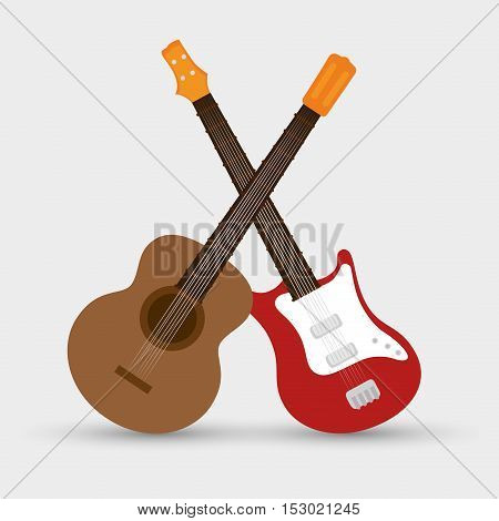 collection electric guitar and traditional guitar music vector illustration