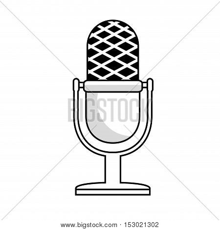 microphone vintage monochrome icon vector illustration eps 10