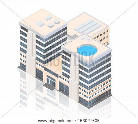 isometric modern business center on a white background with reflection