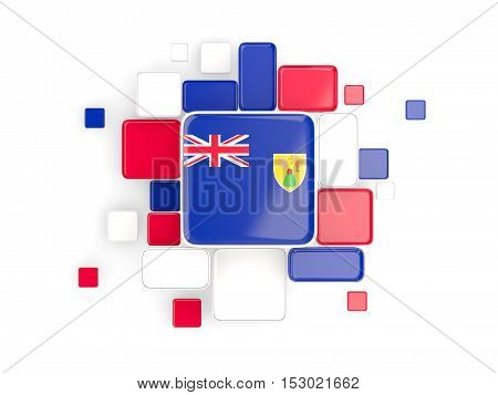 Flag Of Turks And Caicos Islands, Mosaic Background