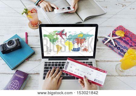 Travel Navigation Journey Vacation Trip Laptop Concept