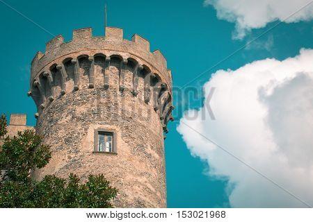 Tower of castle Odescalchi in Bracciano Lazio Italy.