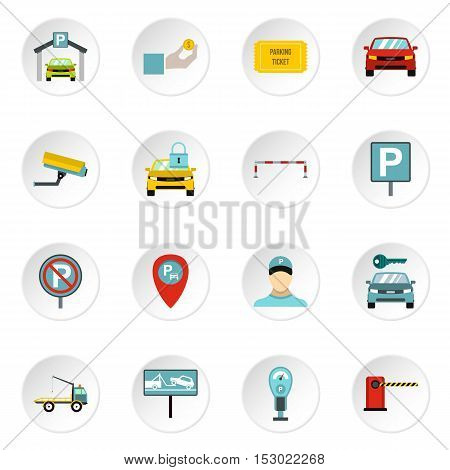 Parking icons set. Flat illustration of 16 parking vector icons for web