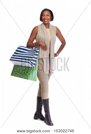 African-American shopping woman.