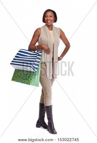 African-American shopping woman.