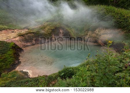 Goluboy Blue Pool in Valley of Geysers. Kronotsky Nature Reserve on Kamchatka Peninsula.