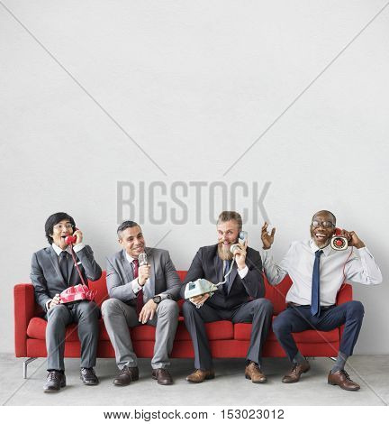 Business Team Working Using Vintage Objects Concept