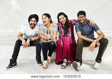 Indian Friends Classmates Hangout Concept
