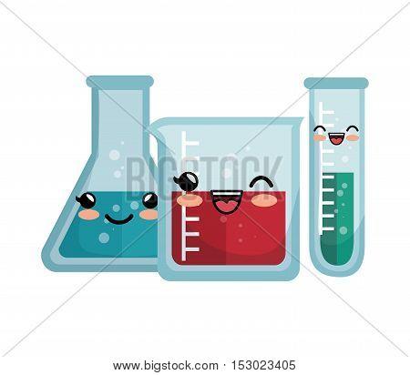 kawaii laboratory equipment flasks with liquid vector illustration eps 10