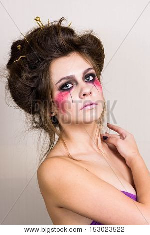 halloween make up beautiful model with perfect hairstyle. concept.