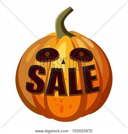 Pumpkin with word sale icon. Cartoon illustration of pumpkin with word sale vector icon for web