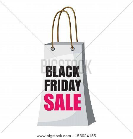 Shopping bag black friday sale icon. Cartoon illustration of shopping bag black friday sale vector icon for web