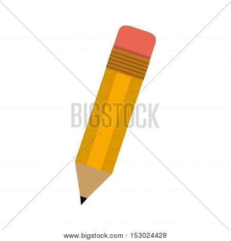little school pencil with eraser vector illustration