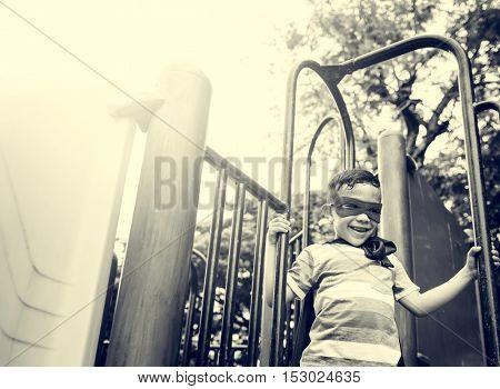 Playground Yard Superhero Freedom Child Boy Concept