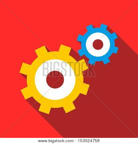 Gear mechanism icon. Flat illustration of gear mechanism vector icon for web
