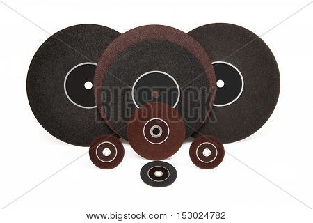 Grinding and polishing Industrial wheels on white background