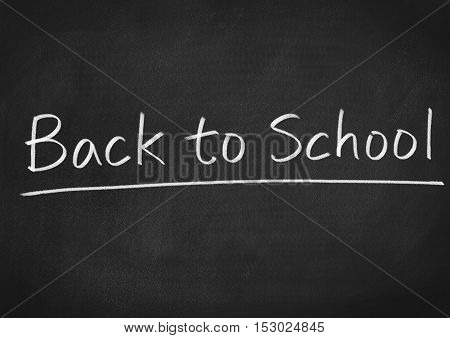 back to school concept text on blackboard background