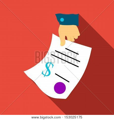 Hand gives contract icon. Flat illustration of hand gives contract vector icon for web