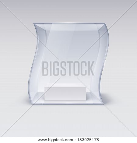 Glass Showcase in Wave Form for Presentation on white Background