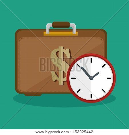 suitcase money clock safety icon vector illustration eps 10