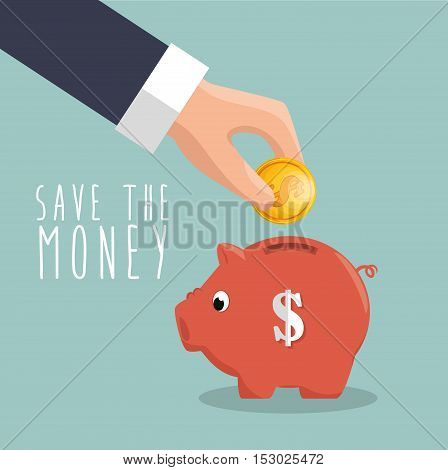 hand put coin piggy save the money icon vector illustration eps 10