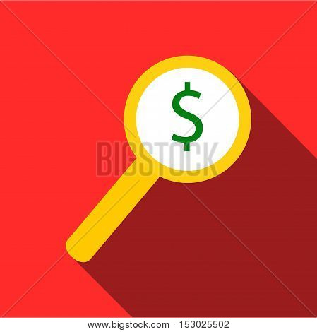 Magnifier with increase money icon. Flat illustration of magnifier with increase money vector icon for