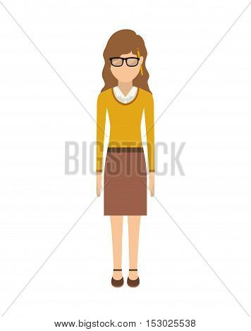 woman with wave hair and skirt vector illustration