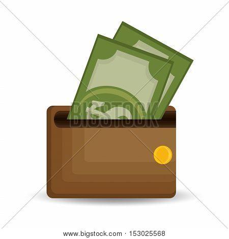 wallet save money dollar bills icon vector illustration eps 10