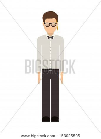 man wearing suit with shirt and pants vector illustration