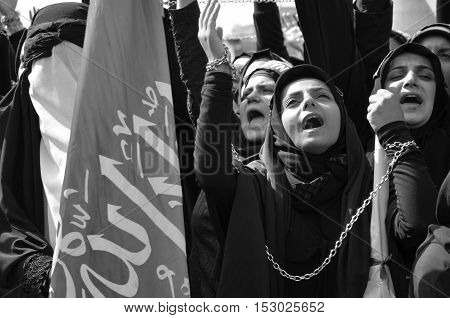Istanbul Turkey - October 11 2016: Muslims worldwide marks Ashura Istanbul Shiite community. Turkish Shia Muslims mourning for Imam Hussain. Caf