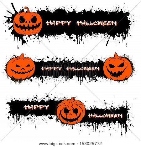 Set pumpkin from Halloweenl with splashes of ink. Vector illustration