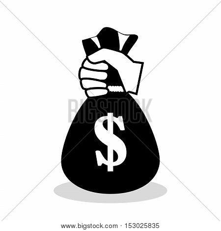 silhouette hand holding bag money icon vector illustration eps 10