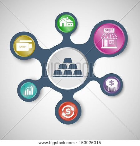 Loan infographic templates with connected metaballs, stock vector