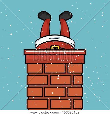 santa claus chimney stuck snow design vector illustration eps 10