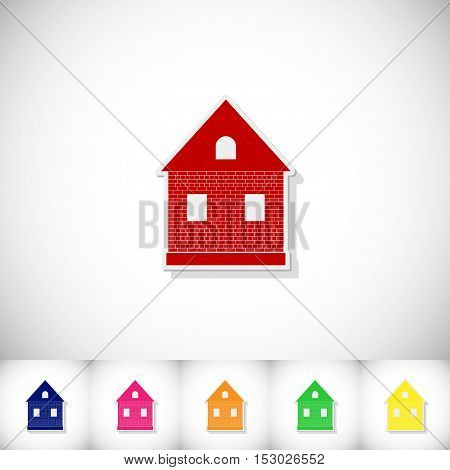 Home. Flat sticker with shadow on white background. Vector illustration