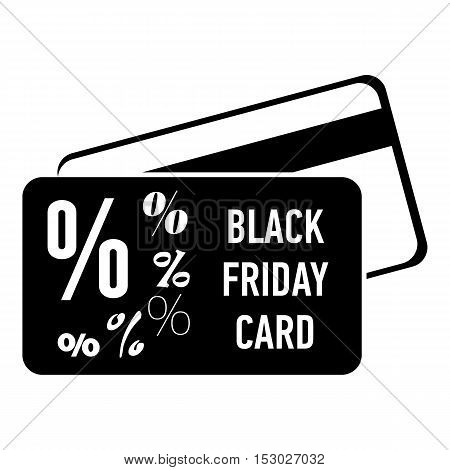 Card discounts black friday icon. Simple illustration of card discounts black friday vector icon for web