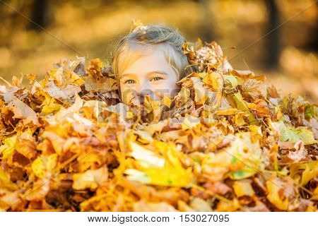 Happy little girl plays with autumn leaves in the park